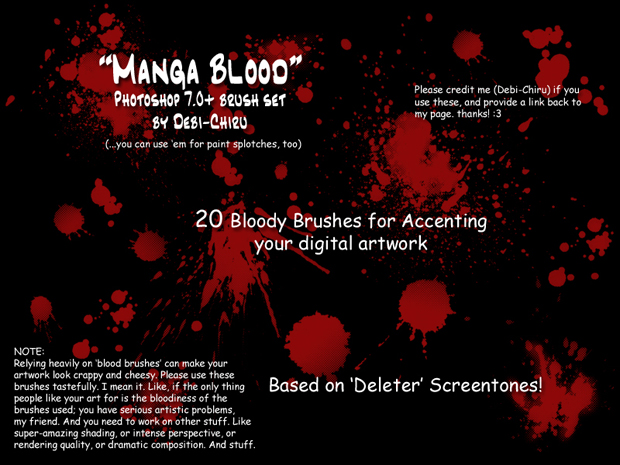 Manga blood brush set