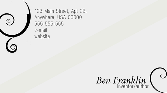 elegance business card